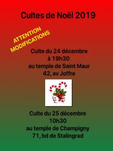 Modification programme Noël 2018