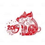 Chinese Zodiac Sign Year of Pig. Red decor pig 2019. Happy Chinese New Year 2019 year of the pig.